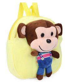 Plush School Bag Monkey Design Yellow - 9 inches