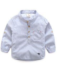 Mauve Collection Summer Stripe Print Shirt - Light Blue