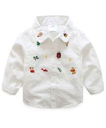 Mauve Collection Cartoon Embroidered Shirt - White