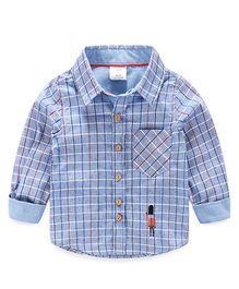 Mauve Collection Plaid Printed Shirt - Blue