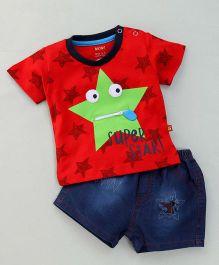 Wow Clothes Half Sleeves T-Shirt & Denim Shorts Super Star Print - Red & Blue