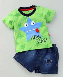 Wow Clothes Half Sleeves T-Shirt & Denim Shorts Super Star Print - Green & Blue