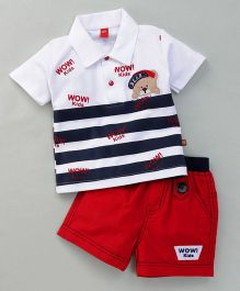 Wow Clothes Half Sleeves T-Shirt & Shorts Stripes Print - Navy
