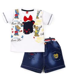 Wow Clothes Half Sleeves T-Shirt And Shorts Set Music Bear Print - White Blue