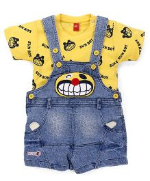Wow Clothes Dungarees With Printed Tee - Blue