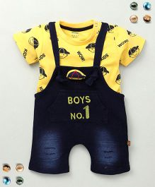 Wow Clothes Dungaree & T-Shirt With Print - Yellow
