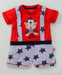 Wow Clothes Half Sleeves Romper Little Monkey & Star Print - Red