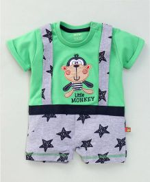 Wow Clothes Half Sleeves Romper Little Monkey & Star Print - Green