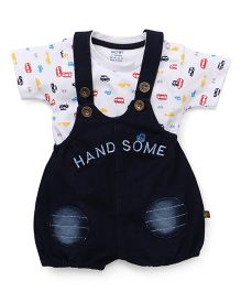 Wow Clothes Dungaree & T-Shirt With Hand Some Print - White Blue