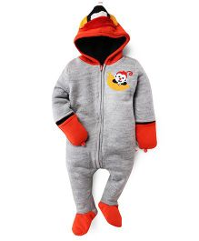 Yellow Apple Footed Hoodie Romper - Grey & Red