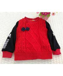 Tickles 4 U Self Weave Sweater - Red