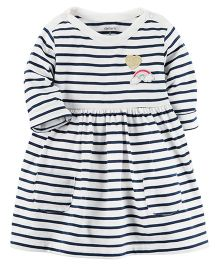 Carter's Striped Jersey Dress - White Navy