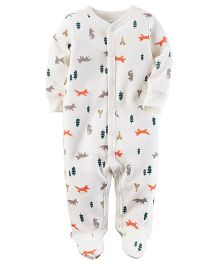 Carter's Thermal Snap-Up Sleep & Play - White