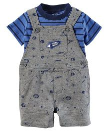 Carter's 2-Piece Tee & Shortalls Set - Grey Blue