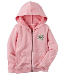 Carter's Garment-Dyed Patch Zip-Up Hoodie - Pink