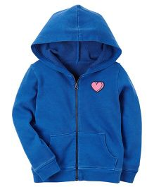 Carter's Garment-Dyed Patch Zip-Up Hoodie - Blue