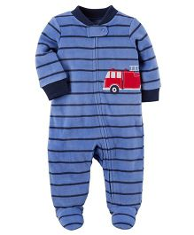 Carter's Fleece Zip-Up Sleep Suit - Light Blue