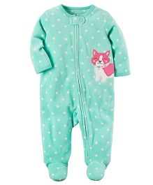 Carter's Fleece Zip-Up Sleep Suit - Green