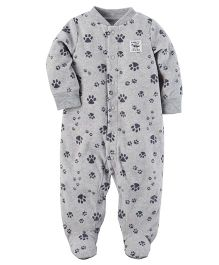 Carter's Fleece Zip-Up Sleep Suit - Grey