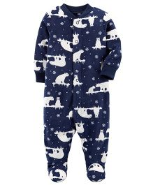 Carter's Polar Bear Snap-Up Fleece Sleep Suit - Navy Blue