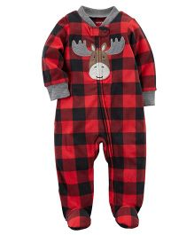 Carter's Reindeer Snap-Up Fleece Sleep Suit - Red