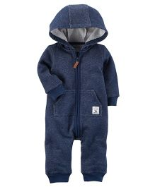 Carter's Brushed Fleece Hooded Romper - Blue