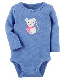 Carter's Thermal Bodysuit Kitty Patch - Blue