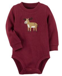 Carter's Thermal Bodysuit Deer Patch - Burgundy