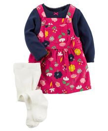 Carter's 3 Piece Tee & Jumper Set - Pink Navy Blue