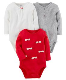 Carter's 3-Pack Long-Sleeve Original Bodysuits - White Red Grey