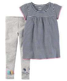 Carter's 2-Piece Striped Tunic & Legging Set - Navy Grey