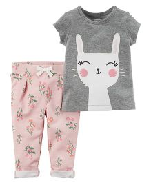 Carter's 2-Piece Bunny Tee & French Terry Pant Set - Pink & Grey