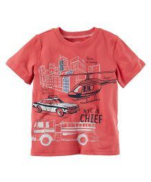 Carter's Metallic Firetruck Graphic Tee - Coral