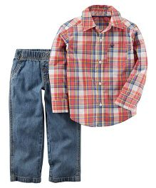 Carter's 2-Piece Plaid Button-Front & Denim Pant Set - Blue & Red