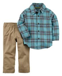 Carter's 2-Piece Button-Front Shirt & Canvas Pant Set - Blue & Brown