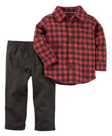 Carter's 2-Piece Button-Front Shirt & Canvas Pant Set - Red & Dark Brown