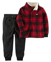 Carter's 2-Piece Fleece Pullover & Jogger Set - Red Black