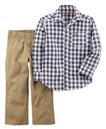 Carter's 2-Piece Checkered Button-Front & Canvas Pant Set - White Navy Khaki