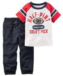 Carter's 2-Piece Athletic Raglan Tee & French Terry Jogger Set - White Red Grey