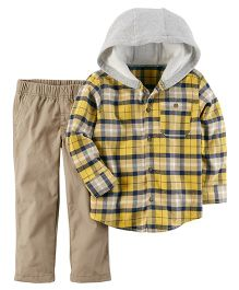 Carter's 2-Piece Flannel Shirt & Canvas Pant Set - Yellow Fawn