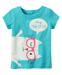 Carter's Stay Paw-sitive Graphic Tee - Sea Green