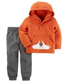 Carter's 2-Piece Henley T-Shirt & Fleece Jogger Set - Orange Grey