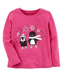 Carter's Full Sleeves Penguin Print Top - Pink