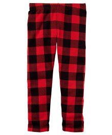 Carter's Cozy Fleece Leggings - Red Black