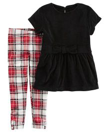 Carter's 2-Piece Bow Top & Plaid Legging Set - Black