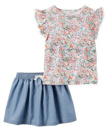 Carter's 2-Piece Floral Top & Chambray Skirt Set - White Blue