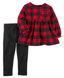 Carter's 2-Piece Flannel Top & Legging Set - Red