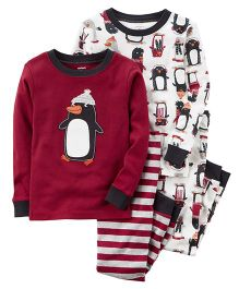 Carter's 4-Piece Penguin Snug Fit Cotton Night Wear Set - Multi Color