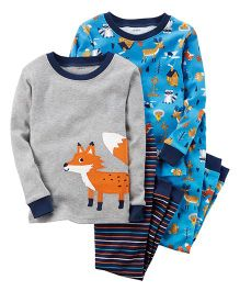 Carter's 4-Piece Fox Snug Fit Cotton Night Wear Set Pack of 2 - Blue Grey