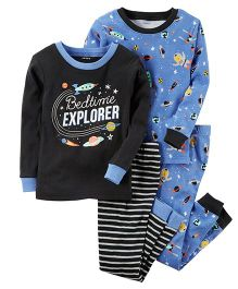 Carter's 4 Piece Glow In The Dark Snug Fit Cotton PJs - Blue Black